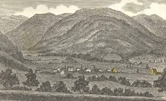 Steward's house (far right)-School house (to left) (yellow)-1836