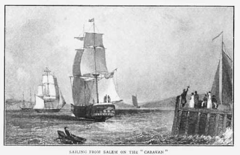 The Judsons, Newells, and Luther Rice set sail for India from Salem, MA on the Caravan-Feb 19, 1812