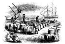 'The wharf-gauging oil', by David H. Strother, a New Bedford whaling wharf covered with casks of whale oil. (Harper's New Monthly Magazine, June 1860)