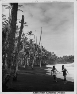Two young women on Kaimu Black Sand beach, Kalapana-HAL_Promotion-PP-29-10-019