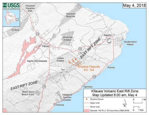 USGS Mapping of Rift Zone-fissures in Leilani Estates-05-04-18