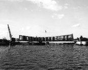 USS Arizona Memorial under construction. The memorial opened in 1962