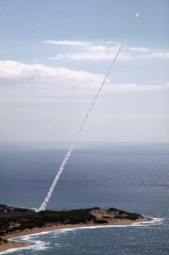 081101-N-0000X-002 PACIFIC OCEAN (Nov. 1, 2008) A ballistic threat target missile is launched from the Pacific Missile Range Facility, Barking Sands, Kauai, Hawaii, enroute to an intercept over an open ocean area northwest of Kauai as part of Pacific Blitz 08. The target was successfully intercepted by a Standard Missile - 3 (SM-3) launched from the Pearl Harbor-based guided-missile destroyer USS Paul Hamilton (DDG 60).(U.S. Navy photo/Released)