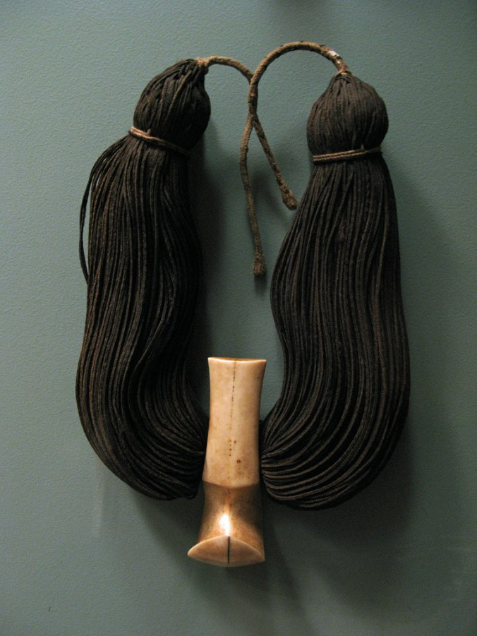 WLA_haa_Lei_Niho_Palaoa_Neck_Ornament-Carved sperm whale tooth, braided human hair, olona cordage