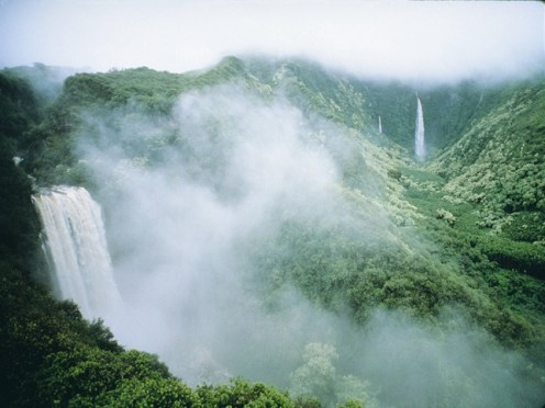 Waterfalls-forest-mist