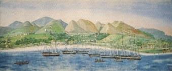 Whale-ships at Lahaina-(vintagehawaii)-1848