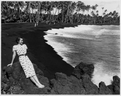 Young woman at Kaimu Black Sand beach, Kalapana-PP-29-10-017-1935