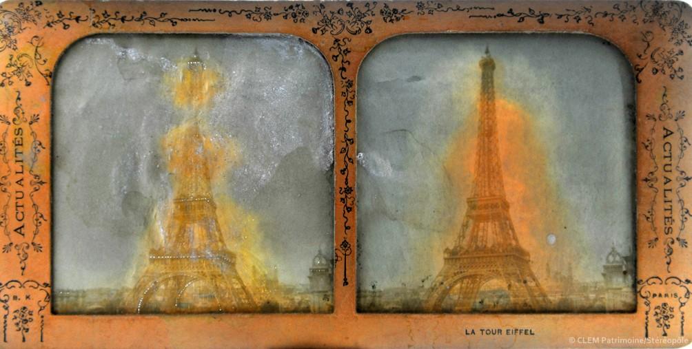 images stéréoscopiques Adolphe Block Actualités Paris Tour Eiffel