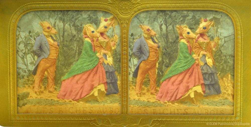 images stéréoscopiques Adolphe Block La Biche au bois