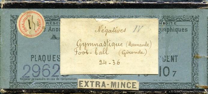 Boite plaque Verre Images stéréoscopique Panajou Bordeaux