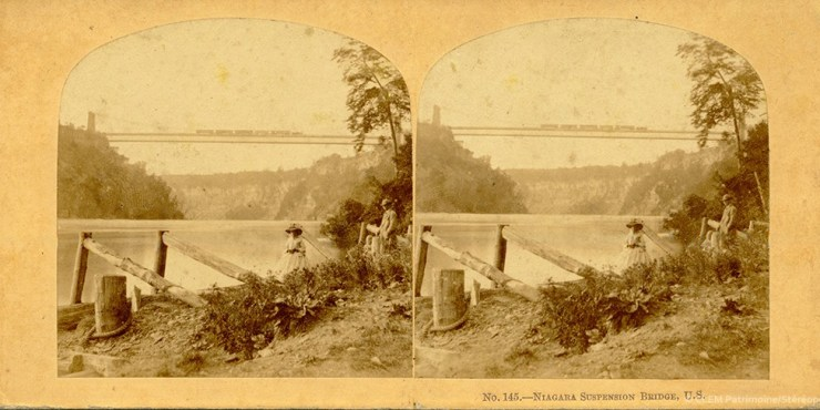 Images stéréoscopique William England Niagara Suspension bridge 1859
