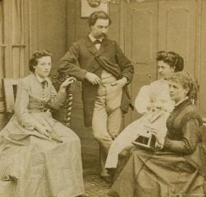 Images stéréoscopiques scène de genre groupe stéréoscope