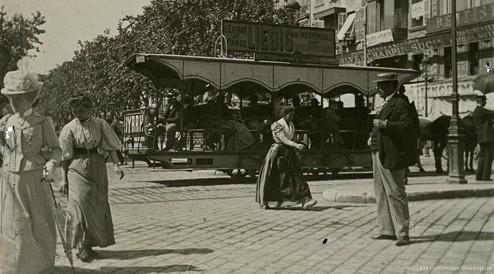 Images stéréoscopique plaque de verre Marseille tramway hippomobile