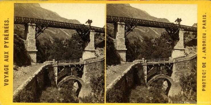 Images stéréoscopiques Pont de Scia Luz-Saint-Sauveur Jean Andrieu 1862