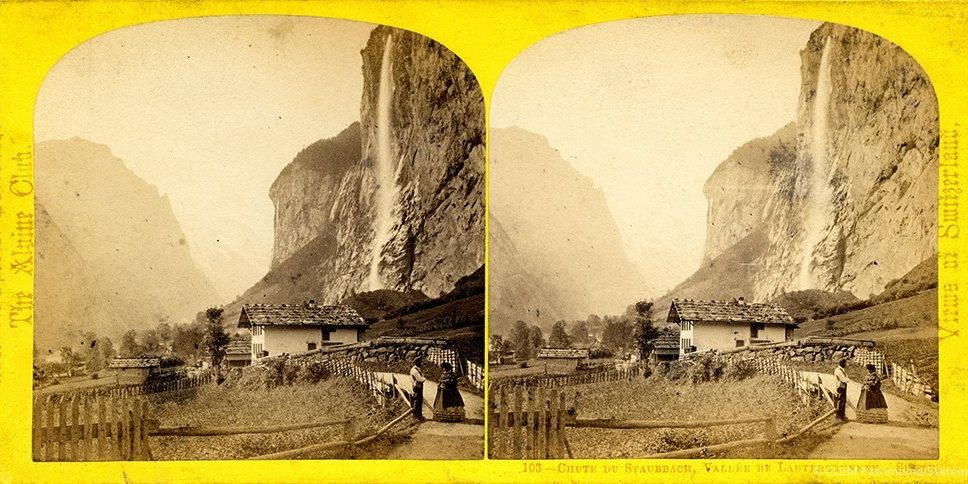 Images stéréoscopiques William England Suisse Lauterbrunnen Staubbach