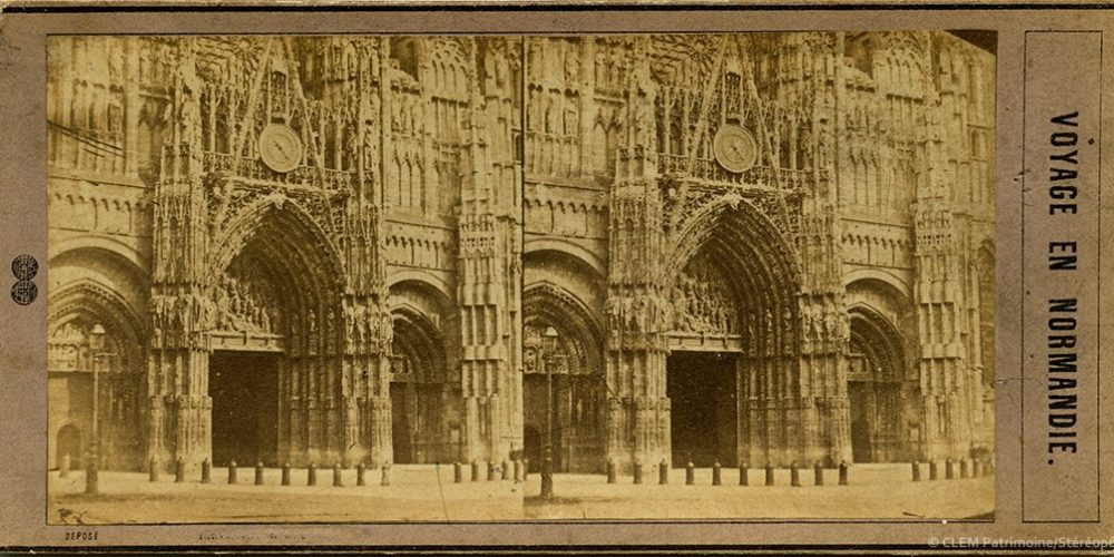 Images stéréoscopiques Jouvin Léon Pierre Voyage en Normandie 1857 Rouen cathédrale
