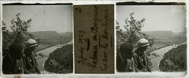 Images stéréoscopiques plaque de verre Beynac 1923