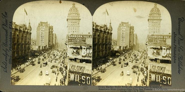 Images stéréoscopiques Universal View Company Kelley 1906 San Francisco Market Street