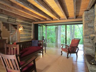Restored Double Log Cabin On 400 Mountain HomeAway Afton