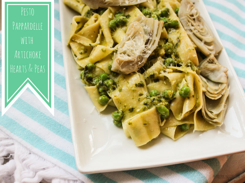 pesto pappardelle with artichoke hearts and peas