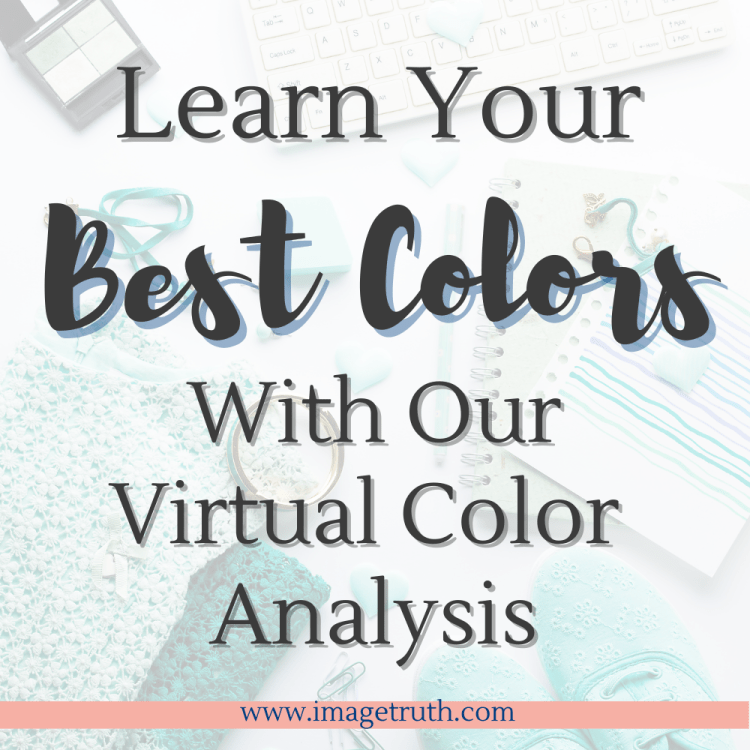Background of teal shoes, sweater, computer, keyboard, bracelet and makeup with words Learn your best colors with our virtual color analysis