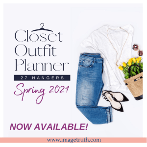 White shirt, jeans, shoes, and spring flowers in a flat lay. Test states Closet Outfit Planner Spring 2021 Now Available