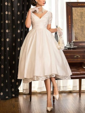 A-line V-neck Taffeta with Lace Tea-length Short Sleeve Classy Wedding Dresses #UKM00022716