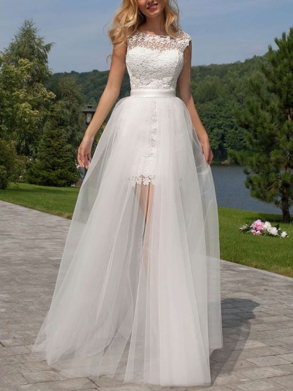 Exclusive Sheath/Column Scoop Neck Lace Tulle Detachable Ruffles Open Back Wedding Dresses #UKM00022524