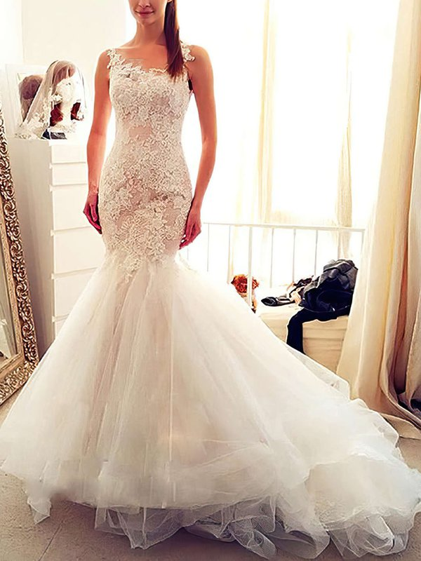 Elegant Tulle Ivory Bridal Dress