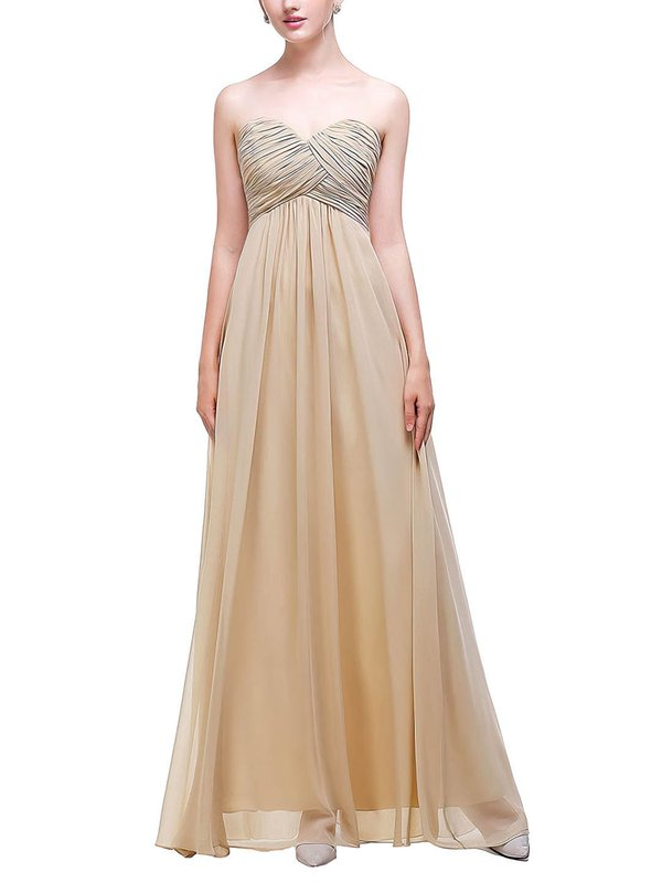 Chiffon Sweetheart Empire Floor-length with Ruffles Bridesmaid Dresses #UKM01013452