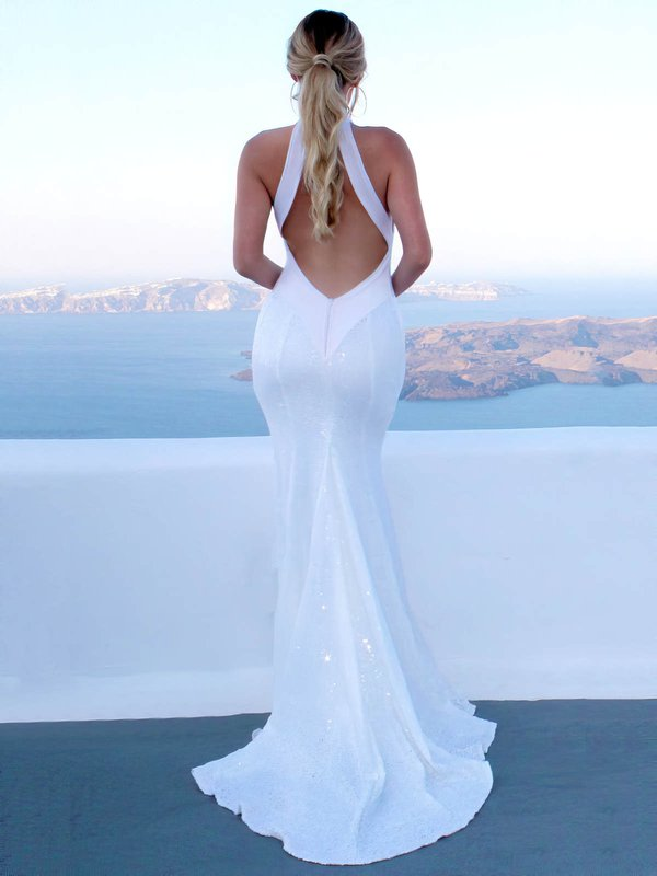 Mermaid Open Back Sequined Wedding Gowns