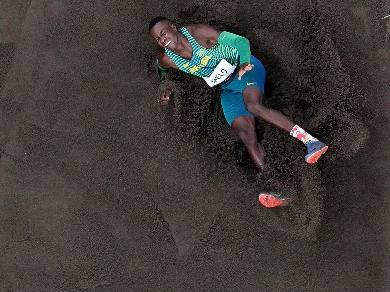 Brazil's Alexsandro Melo competes in the men's long jump qualification