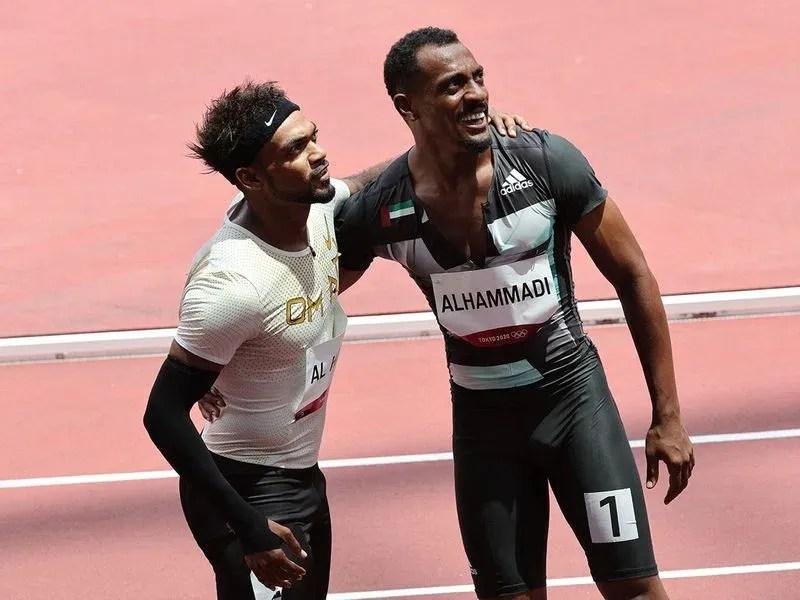 Oman's Barakat Al Harthi, left, with Mohammed Al Hammadi of the UAE