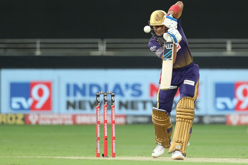 Shubman Gill of Kolkata Knight Riders plays a shot.