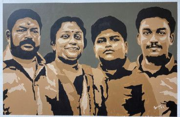 Saran (second from right) hit century by painting a group portrait of his family-1613972631690