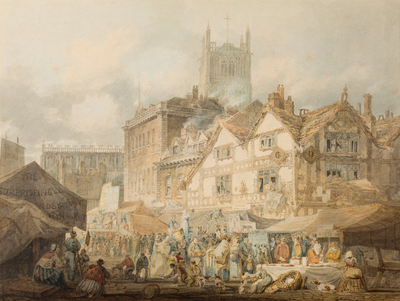St Peter's church dominating the Wolverhampton skyline in 1795, overlooking the market in High Green. Painting by JMW Turner in Wolverhampton Art Gallery.