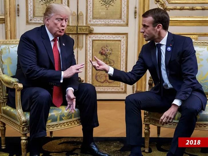 President Trump and French President Emmanuel Macron talking