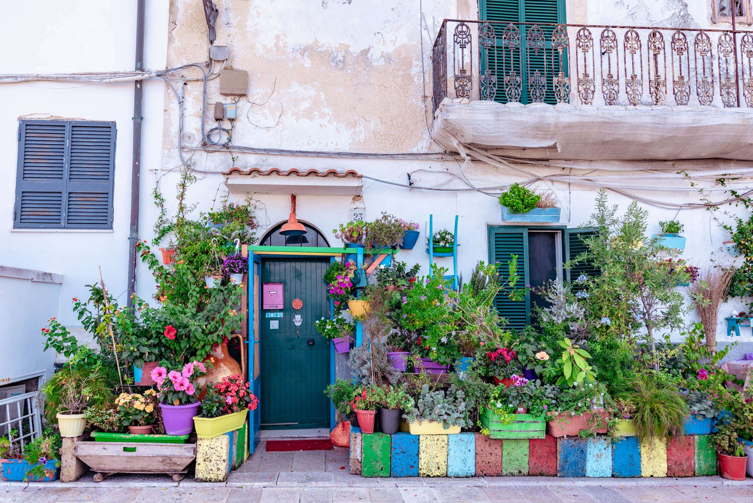 Colorful in the old town of Bari city.
