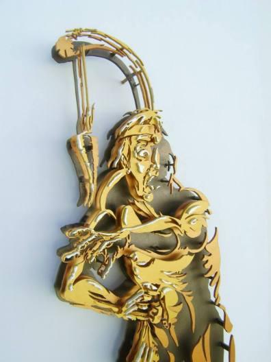 La avaricia - 120x60cm - Escultura de madera formada por 127 piezas (2012) (Foto Detalles 1)