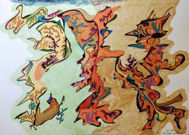 Els dracs ballarins - 40x30cm - Rotulador y brush pen en cartulina
