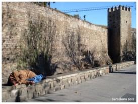 Man sleeping in Drassanes