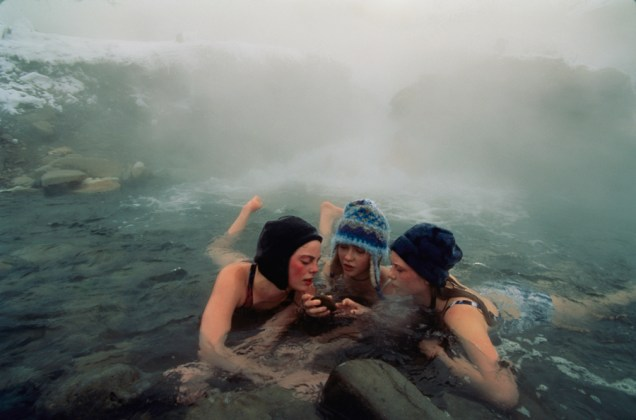 High school friends enjoy a thermal spring near Gardiner, Montana, April 1997.