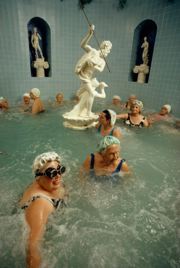 Women enjoy the benefits of a heated whirlpool in Saint Petersburg, Florida, 1973.