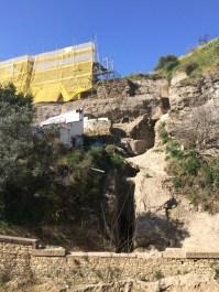 Estado de la coracha mina durante los trabajos de restauración.