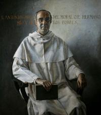 """""""Retrato de Fray Antonio García del Moral, hermano mío y de los pobres"""". En 1970 encarcelaron a su hermano dominico por protestar por la represión en una huelga de la construcción en Granada, en la que murieron tres trabajadores y resultaron heridos más de una treintena. Esto azuzó la conciencia social de Amalio."""