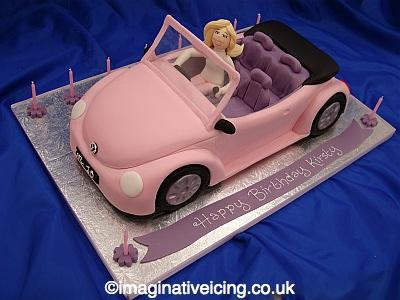 Birthday Girls Pink Car Cake Imaginative Icing Cakes