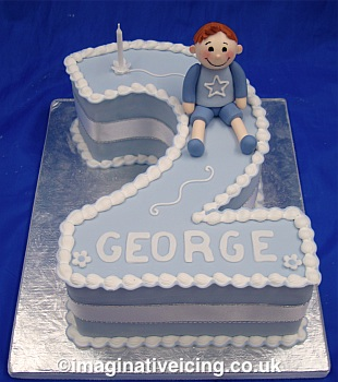 Number Birthday Cake Blue For A Boy Imaginative Icing