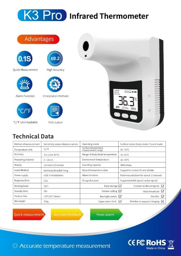 infrared thermometer counter k3 pro-7