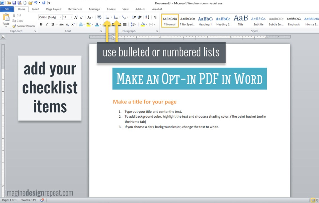 Checklist in Word   Imagine Design Repeat