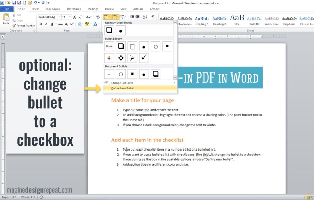 Checklist in Word | Imagine Design Repeat